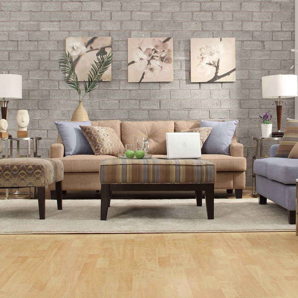 Inspire Q 'Cameron' Light Brown Tufted Sloped Arm Sofa