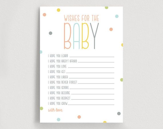 Wishes For Baby Well Wishes Printable Shower Wishes Gender Etsy Wishes For Baby Baby Shower Invitations Free Thank You Cards