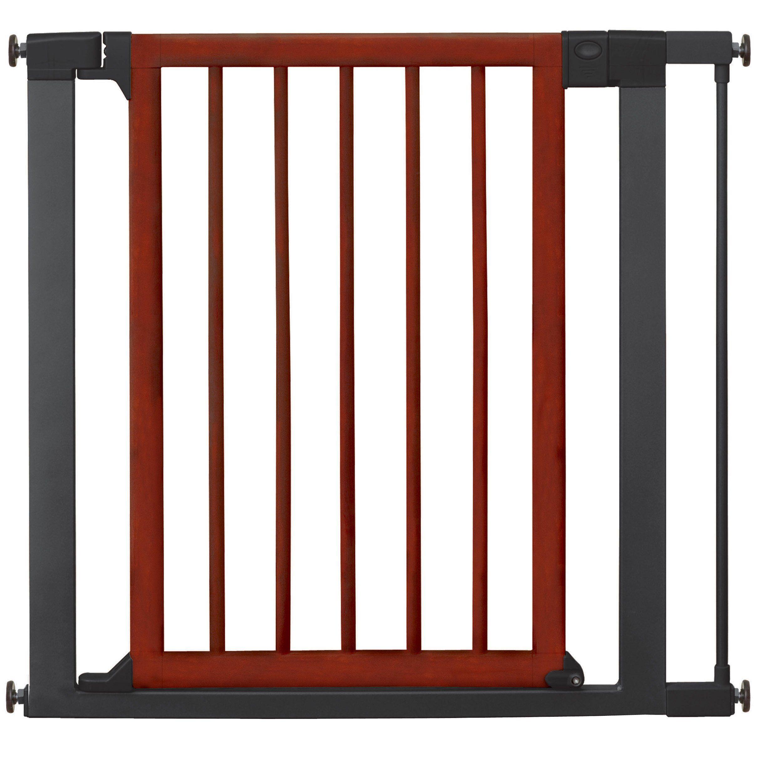 munchkin wood and steel designer gate dark woodsilver  baby  - munchkin® auto close designer baby gate