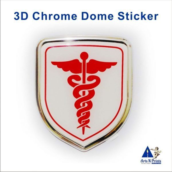 Doctor Symbol 3D Chrome Sticker Online in India  :https://artsnprintsonline.com