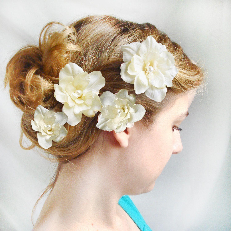 ivory flower hair pins, wedding flower hair accessories
