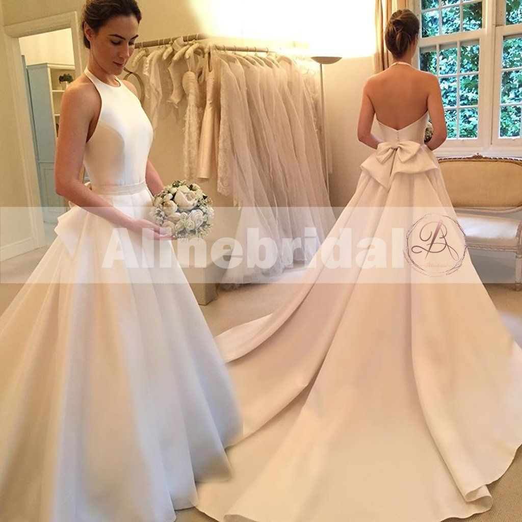 Simple Ivory Satin Elegant Halter With Stunning Bowknot Sweep Train Wedding Dresses Ab1124 Halter Wedding Dress Wedding Dresses Wedding Dress Train