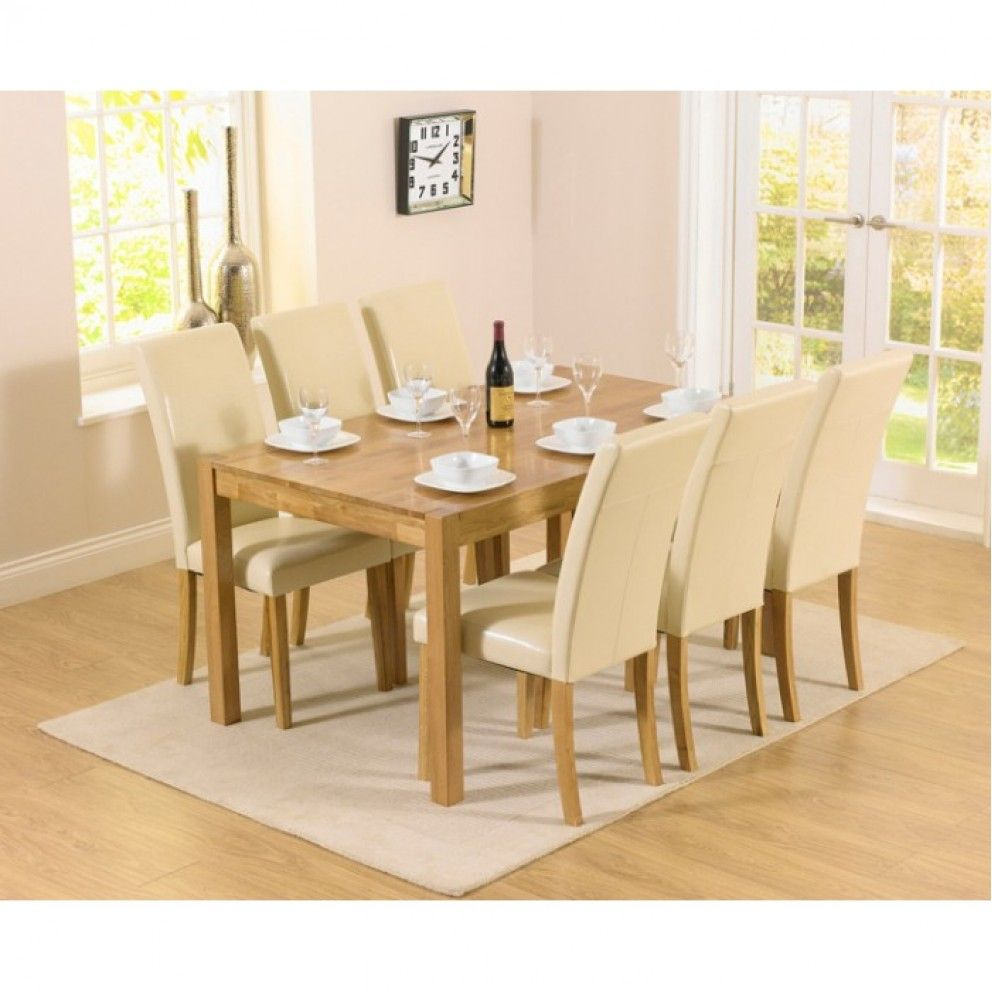 Gloss stowaway dining table and chairs at oak furniture superstore - Shop The Oxford Solid Oak Dining Set With Albany Cream Chairs At Oak Furniture Superstore Quick Delivery With Apr Available