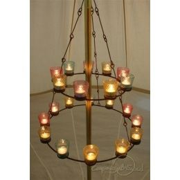 Tea Light Chandelier Camping Gifts Http Www Giftgenies Com Presents Double Multi Coloured Tea Light Chandeli Camping Lights Camping Decor Bell Tent Interior