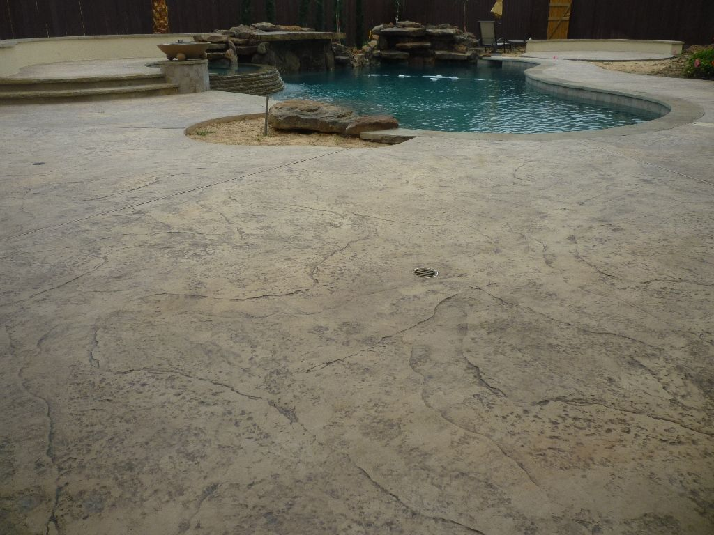Old Granite Pool Deck Stamped Concrete Decks Pools Swimming