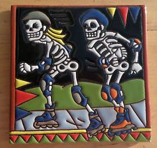 "Talavera Mexican tile 6"" Day of the Dead  Roller blades People rollerbladine"
