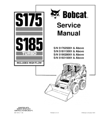 BOBCAT S175, S185 SKID STEER LOADER SERIES SERVICE REPAIR