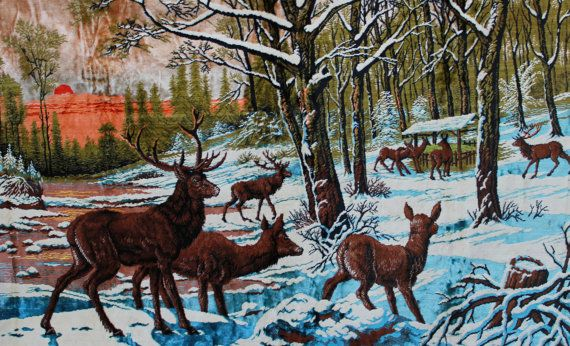 d089308aa0 Picked this up at Auction 8 14 ---1960s Deer woodland scene wall tapestry P    C Made in Italy and distributed by Ramallah Trading Company in New York  This ...