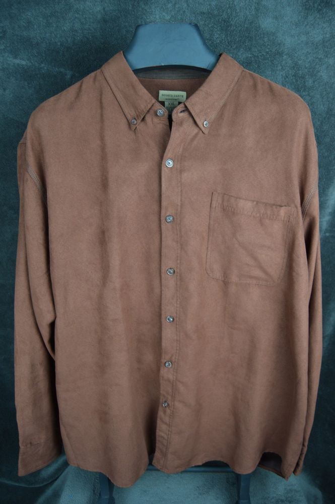 Rugged Earth Outers L 2xl Brown Micro Fiber Suede Ls On Front Shirt Ruggedearthouters