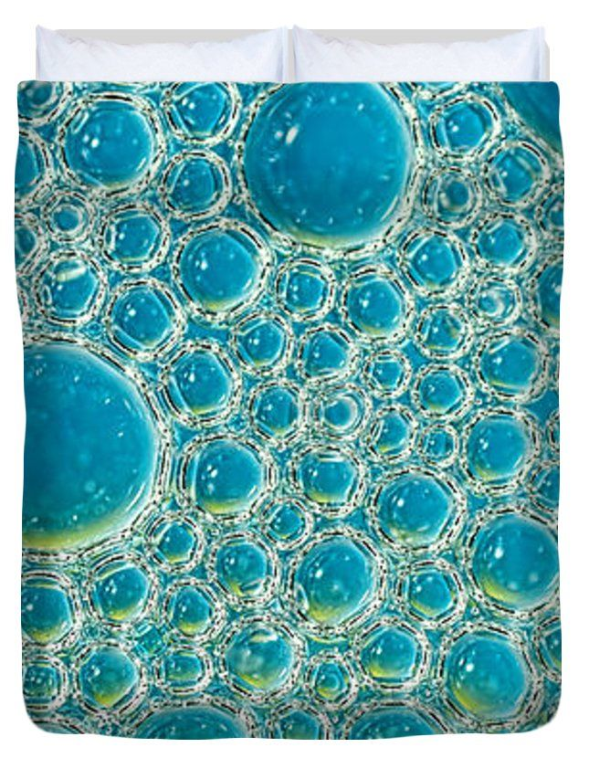 """Bubbles Abstract Turquoise Blue by Kaye Menner Queen (88"""" x 88"""") Duvet Cover"""