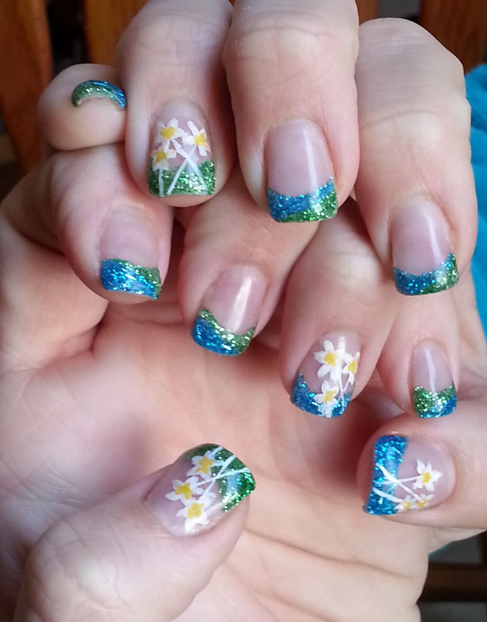 Spring Nail Design. Delicate Flower Nail art on Grass green and ...