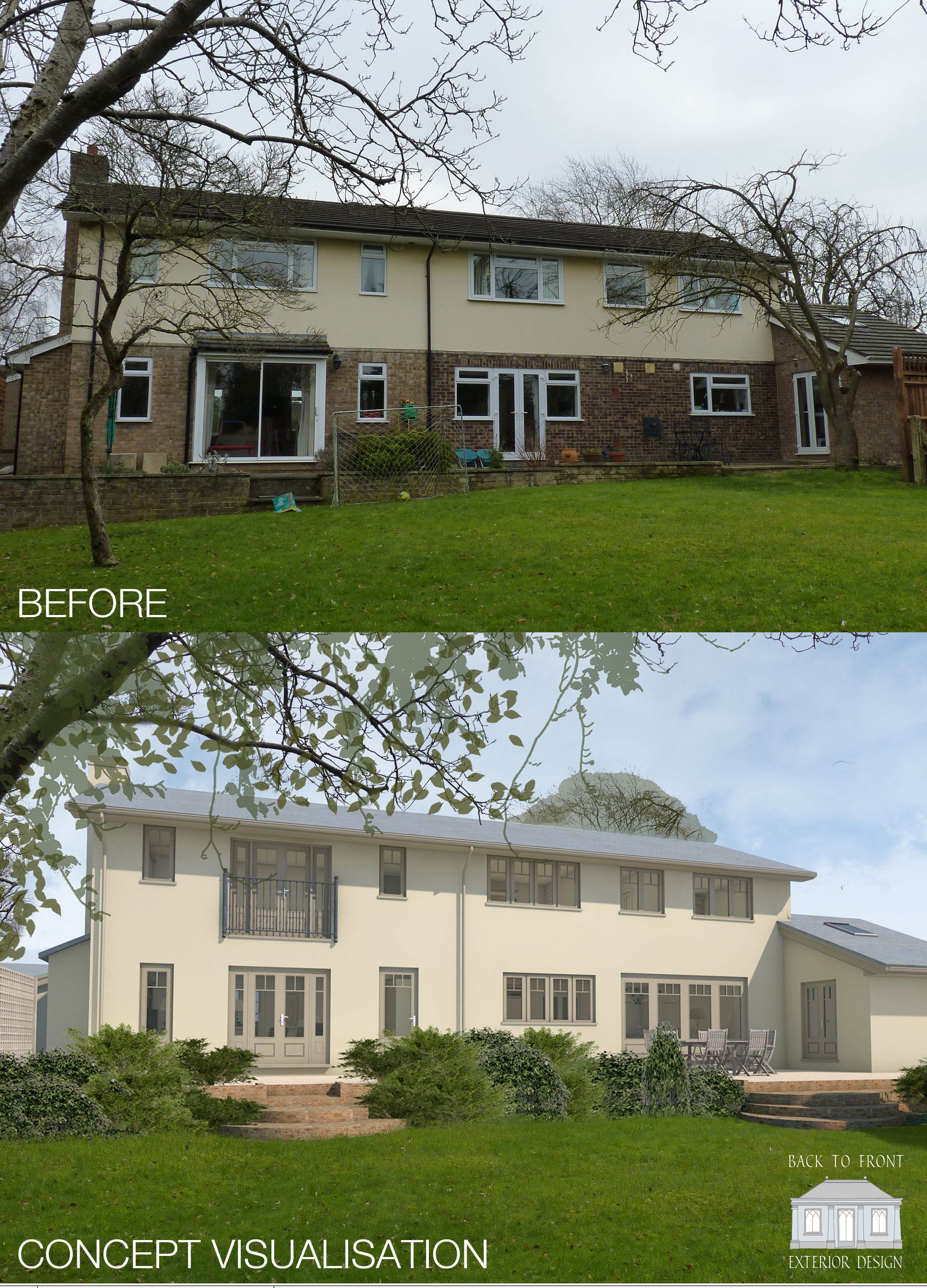 Updating 1960 s house exterior - 1960 S Exterior From Bland To Grand Exterior Design Transformation Proposed For This Surrey Home