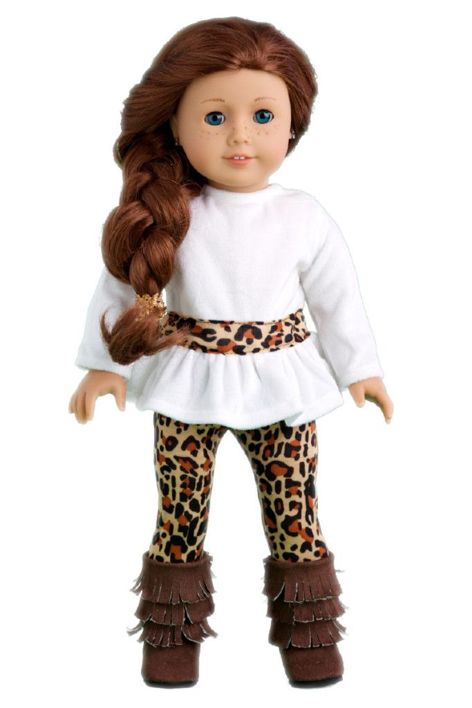 Fashion Safari - Clothes for 18 inch Doll - Ivory Velvet Tunic with Cheetah Leggings and Fringed Boots #bedfalls62