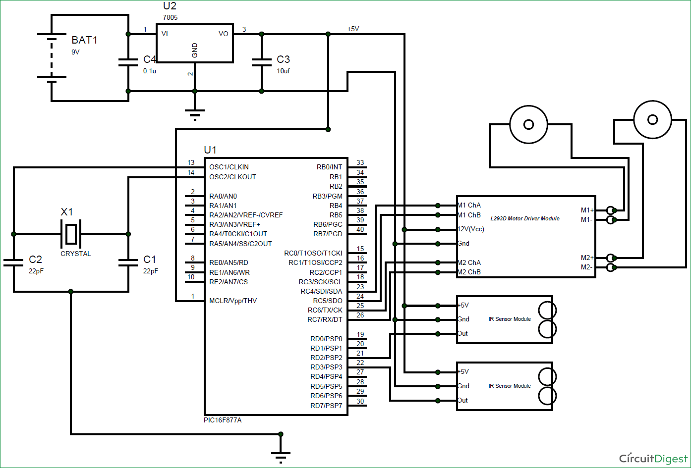 Robot Circuit Diagram Trusted Wiring 232 Serial Port Amplifiercircuit Line Follower Electronic Diagrams Rf Amplifier