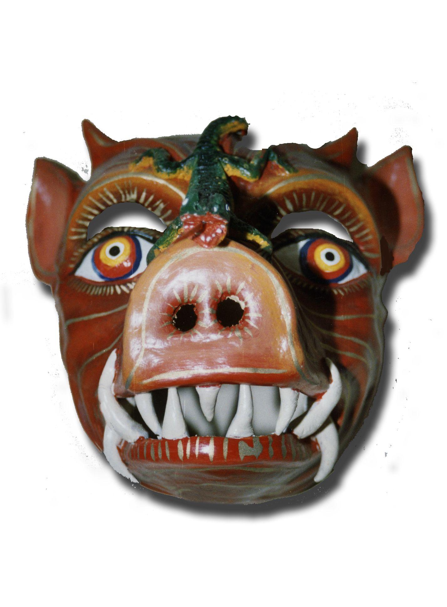 Saqra chancho, diablo de Paucartambo. Museo Virtual de Arte Popular Ayllumedia. Fuente: Colección Santiago Rojas, Cuzco. Foto e investigación de Teatro andino : Herbert Salas