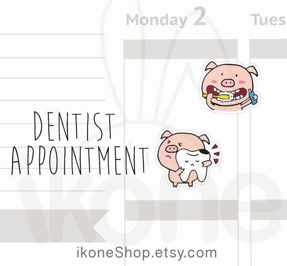 Pumpkin the pig Dentist appointment Planner Stickers by ikoneShop - appointment planner