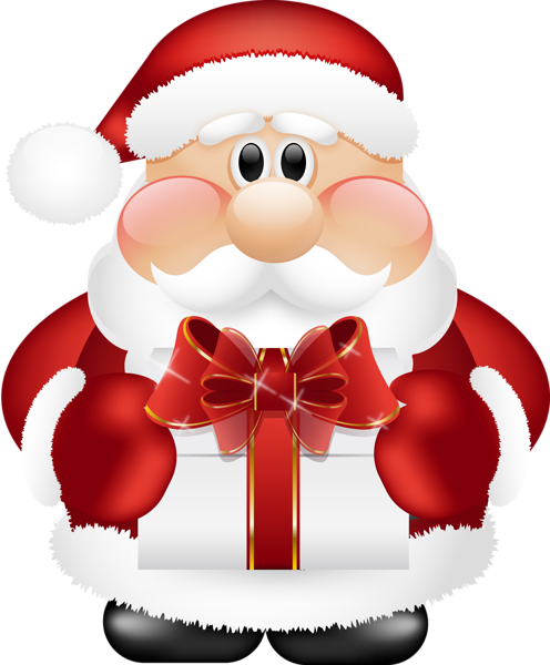 cute santa claus with gift png clipart - Santa Claus Gifts