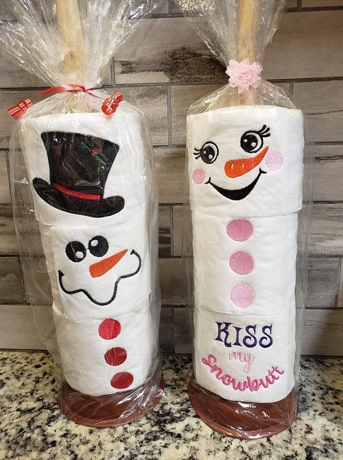 Snowman Series Top Hats Embroidered Toilet Paper