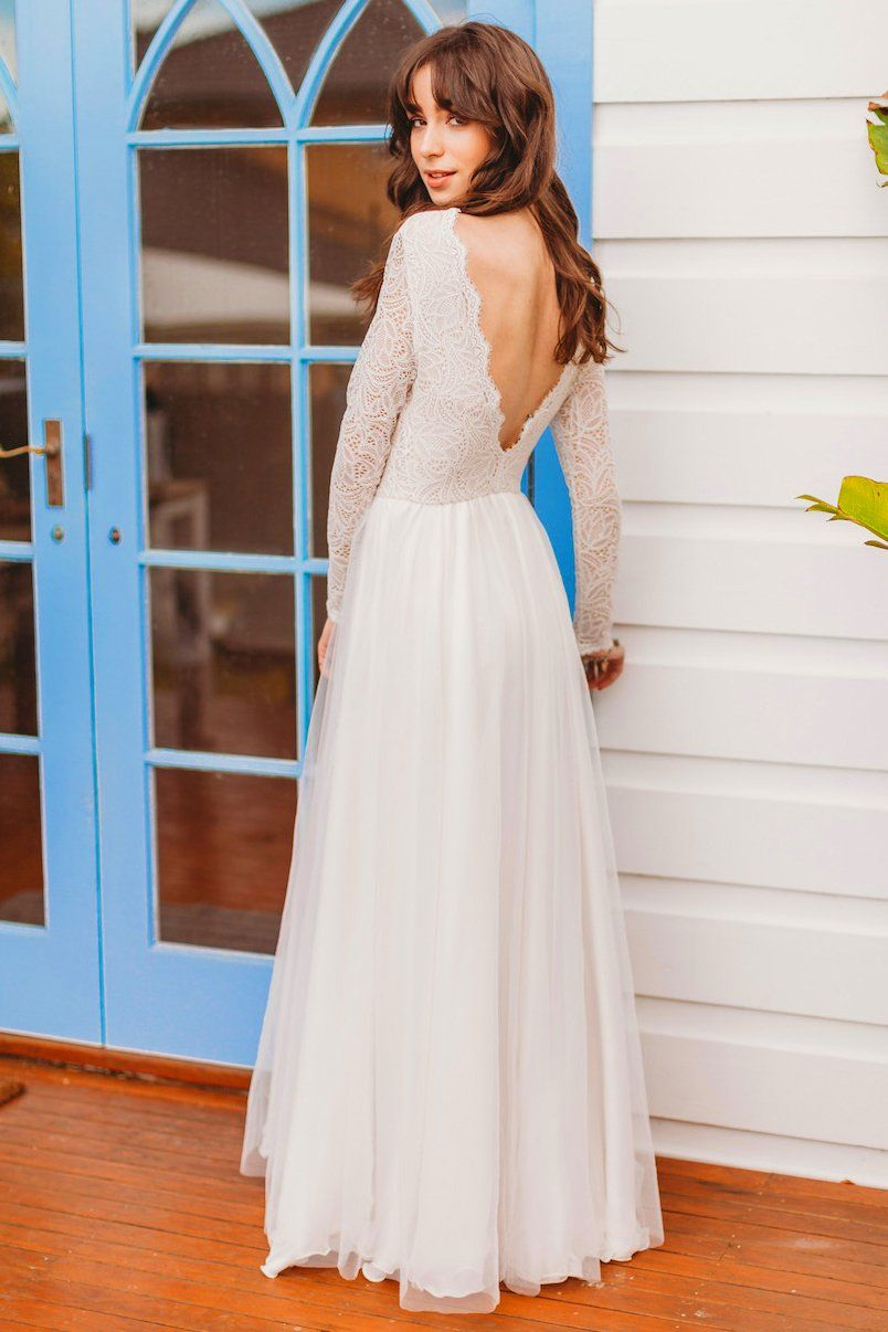 Boho wedding dress with sleeves  Skye  Our Gowns  Pinterest  Long sleeved wedding dresses Sleeved