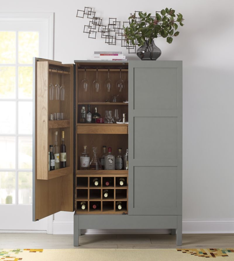 We can make this using an old Amore:)  Victuals Grey Bar Cabinet  | Crate and Barrel