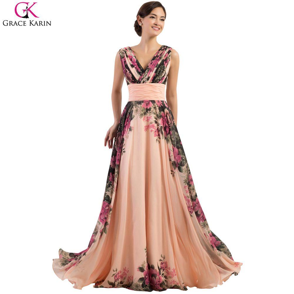 Robe De Soiree Long Evening Dresses Grace Karin Abendkleider 2017 Flower  Print Pattern Elegant Gowns Women Formal Dress Party a4ab8dd4e095