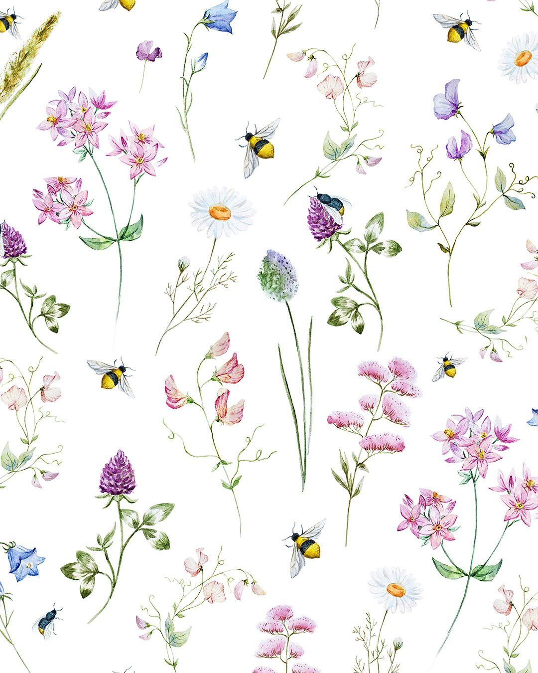 Wild Flowers Watercolor Pattern Wallmural Floralwallper Pattern