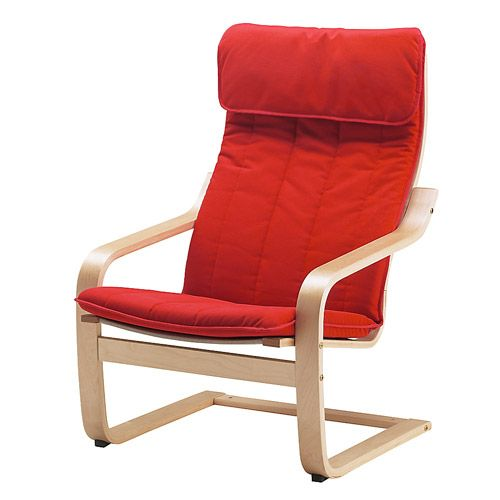 Poäng Fauteuil - Alme Rouge Moyen, Bouleau Plaqué - Ikea 79