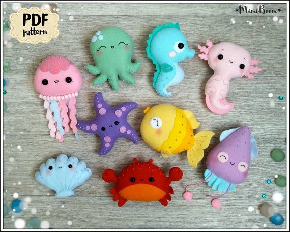Filz Muster Fisch Cute Ornament Seepferdchen Schnittmuster Kawaii Octopus PDF Muster Filz Puppe Muster Ocean Muster Easy Muster PDF - Tiere Blog #instructionstodollpatterns
