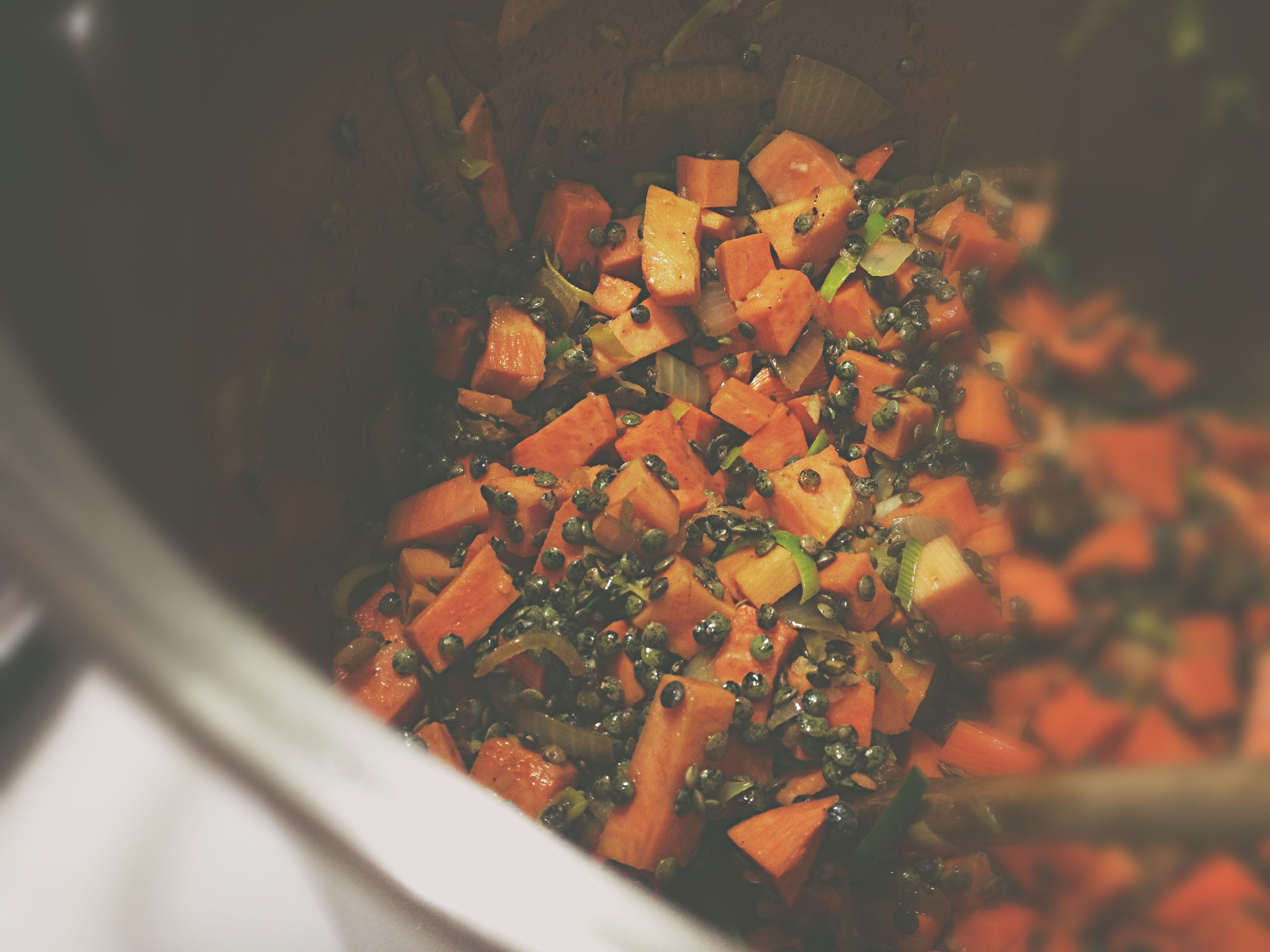 **one of our absolute favorite soups! - Curried Lentil, Sweet Potato and Bacon Soup