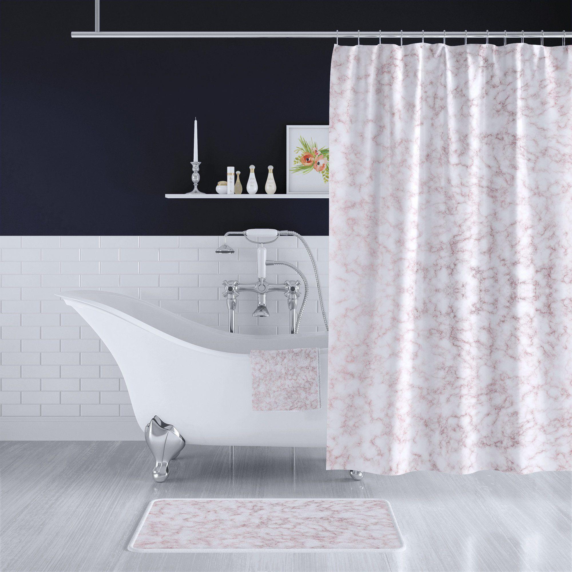 Rose Gold White Marble Bathroom Decor Set Long Shower Curtain Bath Towel Bath Mat Matching Complete Set White Marble Bathrooms Bathroom Decor Sets Long Shower Curtains