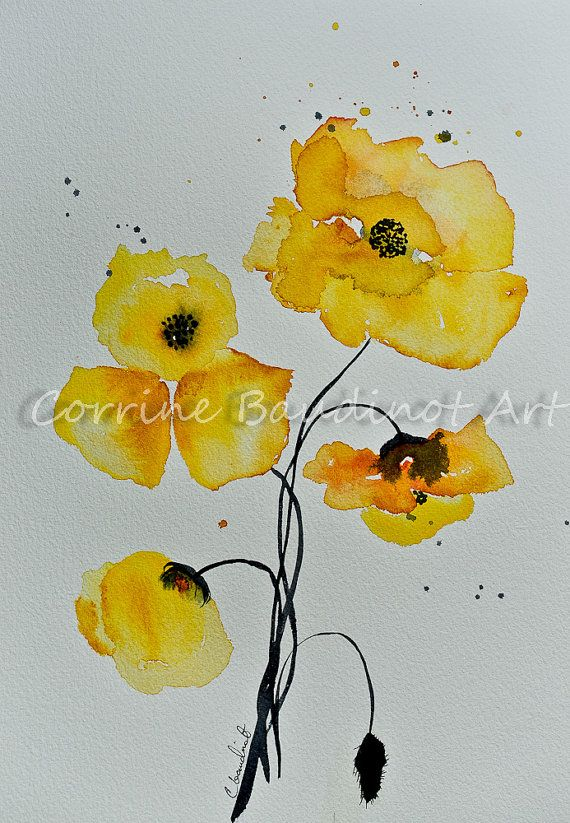 Poppies watercolor painting yellow poppy flowers art bouquet poppy poppies watercolor painting yellow poppy flowers art bouquet mightylinksfo Choice Image