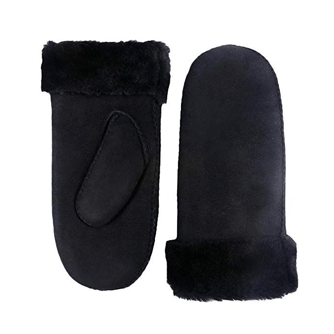 185a0536f YISEVEN Women's Merino Rugged Sheepskin Winter Shearling Leather Gloves  Mitten Sherpa Fur Cuff Thick Wool Lined and Heated Warm for Winter Cold  Weather ...