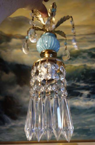 1o5 beaded Vintage SWAG plugin Blue Brass spelter hanging lamp