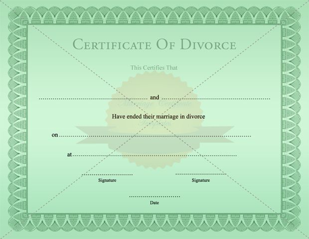 Certificate Of Divorce Template Printable   MarriageCertificateTemplate.com  Divorce Templates