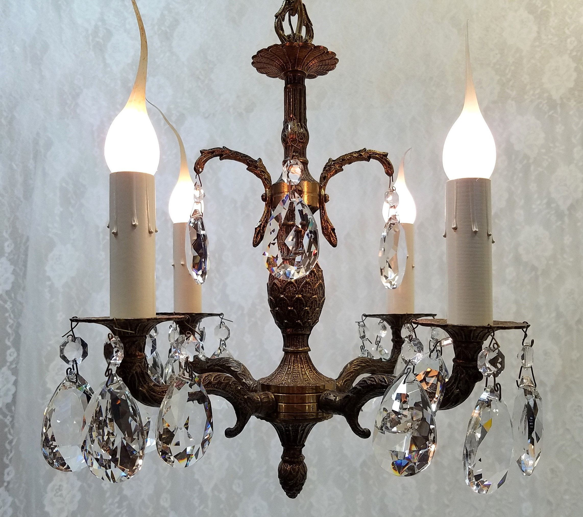 1960s Brass Crystal Petite Chandelier Small Four Light ...