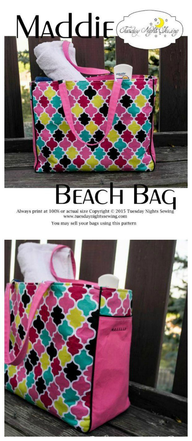 Free Sewing Pattern For This Large And Roomy Beach Tote Bag Has Zipper Pocket Magnetic Snap Etc Easy To Adapt Your Own Size Pockets
