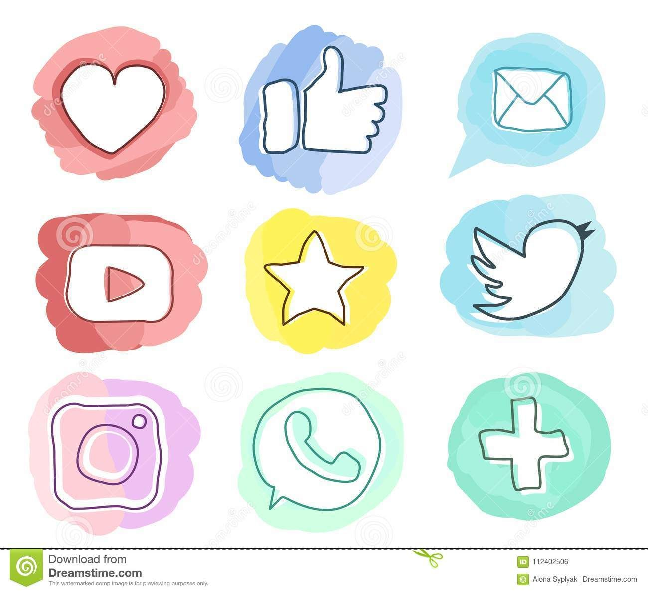 Set Of Social Media Icons.Trendy Style Watercolor Doodle
