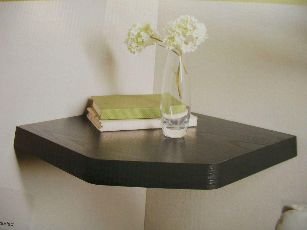 New Floating Corner Shelf White Effect Oak Effect Black