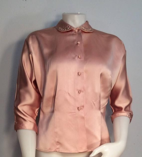 c0ca94288d78e Pink satin blouse vintage 1950 s button front Peter Pan collar ...