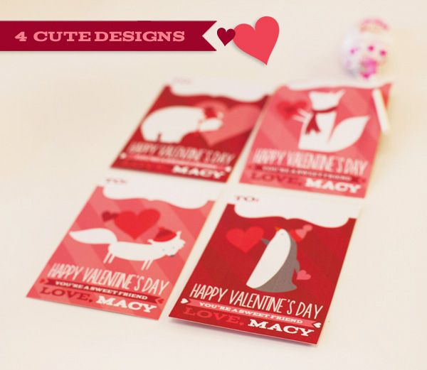 Cute Critters Kids Valentines Day Cards Banner – Cute Kids Valentines Cards