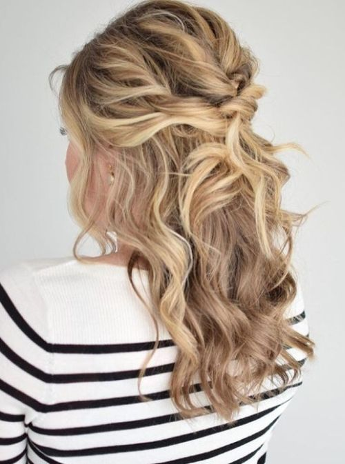 Curly Half Updo Prom Hairstyles For Medium Hairprom