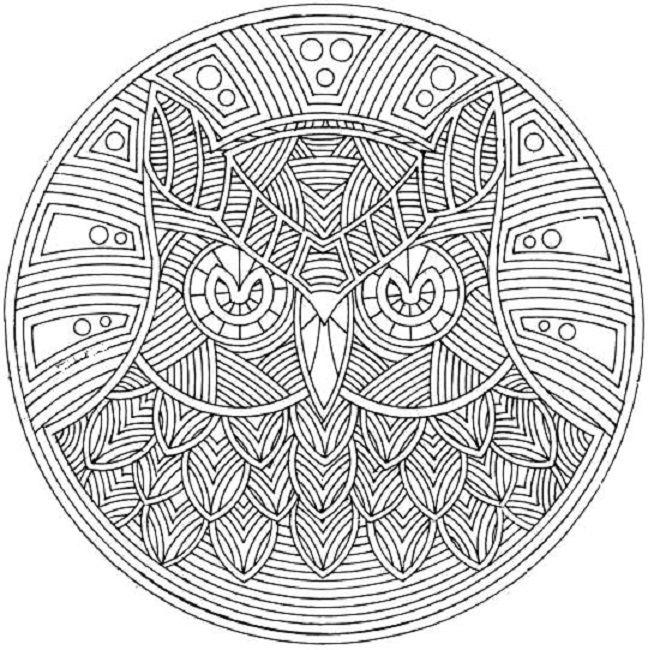 owl mandala coloring pages - Animal Mandala Coloring Pages Owl