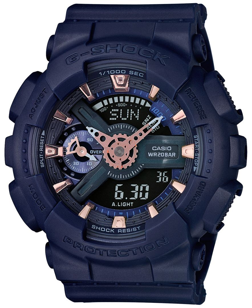 G-Shock Women's Analog-Digital S Series Navy Strap Watch 49x46mm GMAS110CM- 2A