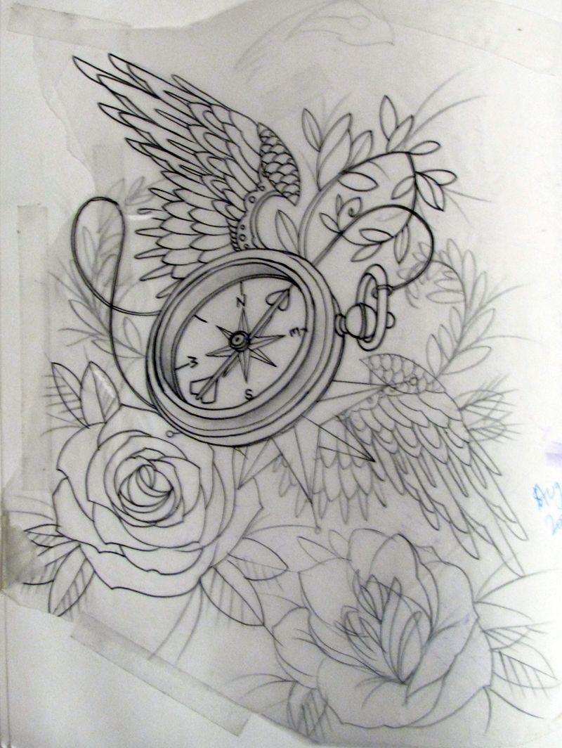 Tattoo Union Drawings Compass Tattoo Compass Tattoo Design Clock Tattoo