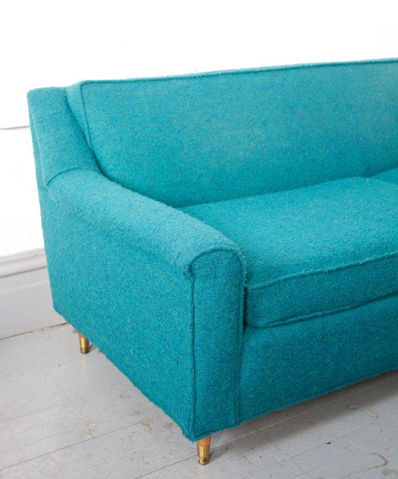 Mid Century Modern Teal / Turquoise Sofa. Would be cute in my art room i