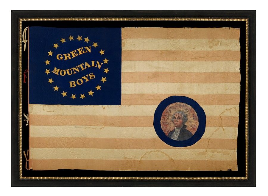 One of the most exceptional Civil War Flags in private hands. Offered by: Jeff Bridgman Antiques and American Flags - SILK, CIVIL WAR BATTLE FLAG OF THE GREEN MOUNTAIN BOYS, WITH WHIMSICAL GOLD TEXT SURROUNDED BY A SOUTHERN-EXCLUSIONARY COUNT OF 20-STARS, A PAINTED EAGLE ON THE REVERSE, AND A PORTRAIT OF GEORGE WASHINGTON THAT WAS AFTERWARDS APPLIQUED IN THE CANTON