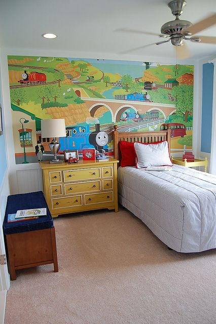 Secondary Bedroom Boys Room Mural Train Room Decor Toddler Rooms