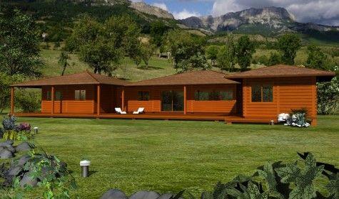 Plan 3 D Villa construction bois avec Mobiteck maison bois massif