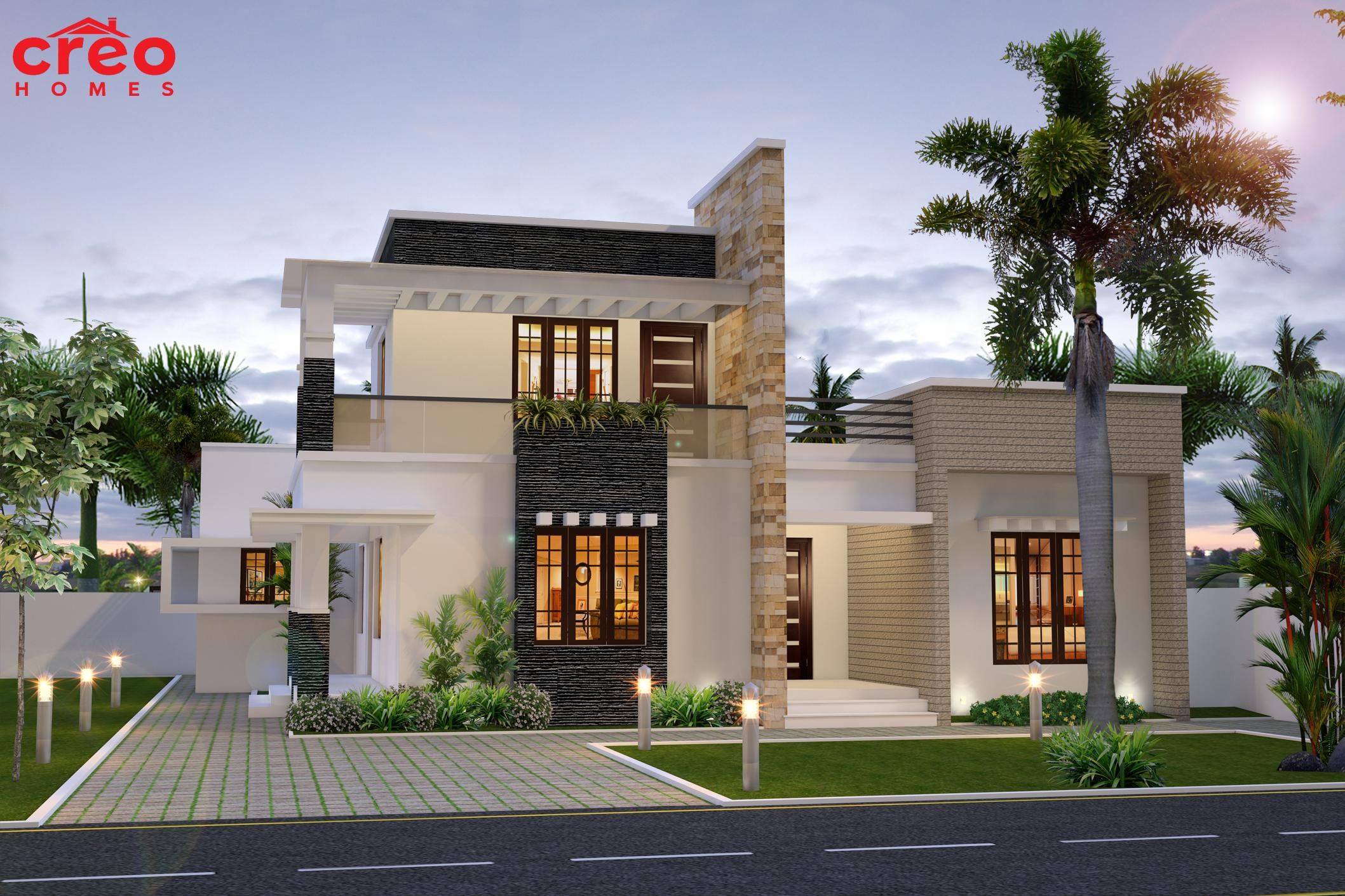 2100 square feet 195 square meter 233 square yards 4 for Modern flat roof house