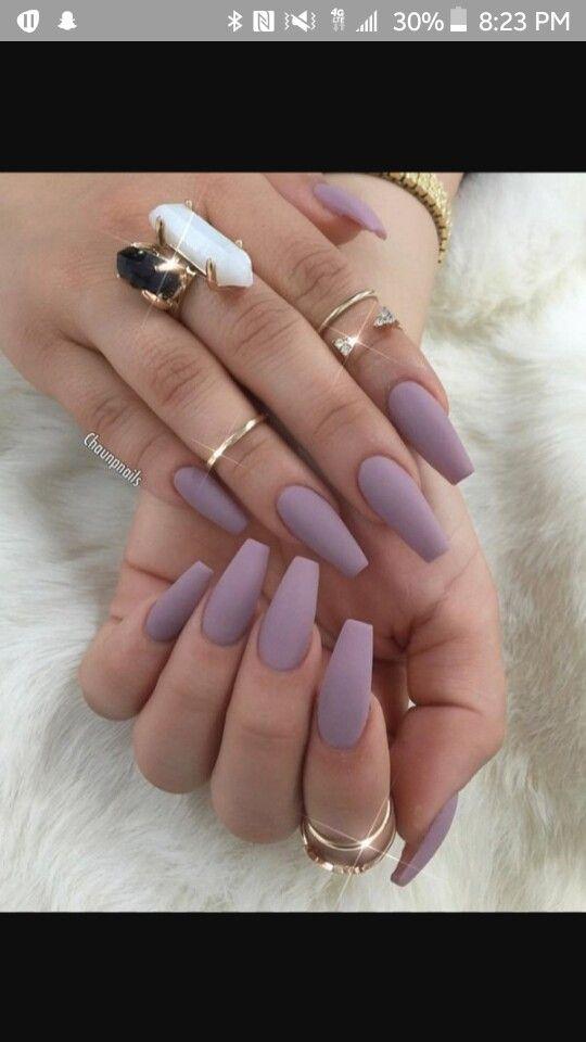 Matte Lavender Coffin Nails